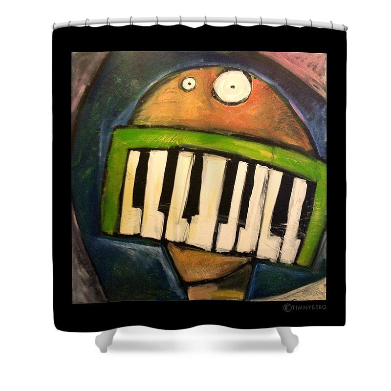Funny Shower Curtain featuring the painting Melodica Mouth by Tim Nyberg