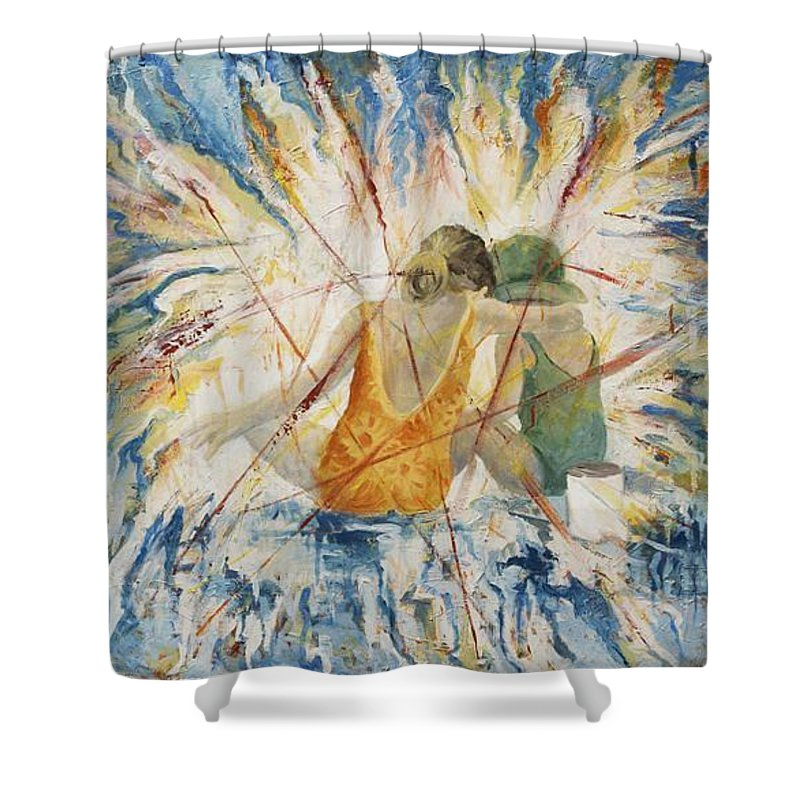 Children Shower Curtain featuring the painting Meltdown by Connie Freid