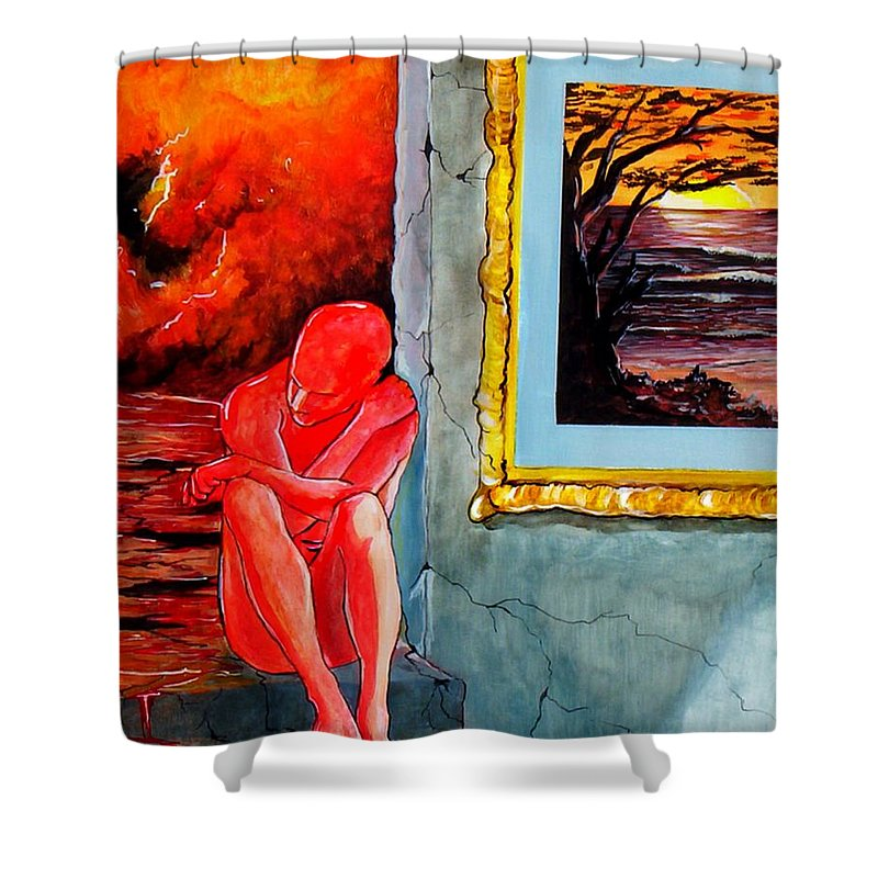 War Sunset Bombs Explosion Wait Loneliness Frustration Shower Curtain featuring the painting Memoirs Of A Bloody Sunset by Veronica Jackson