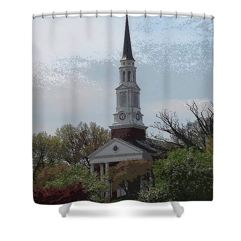 Memorial Chapel Shower Curtain featuring the photograph Memorial Chapel Far by Christopher Kerby
