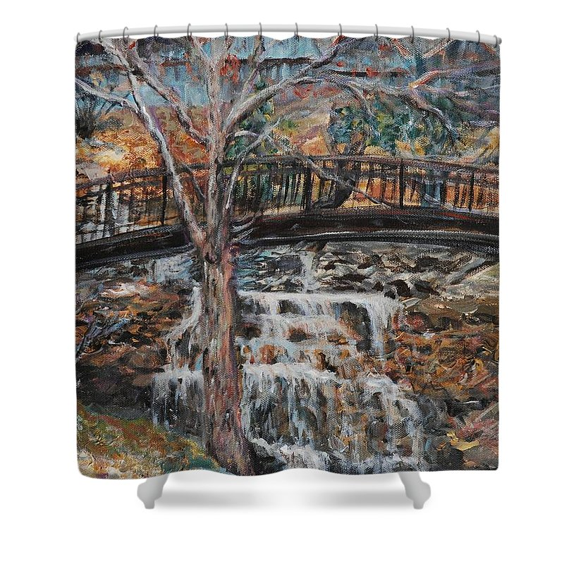 Waterfalls Shower Curtain featuring the painting Memories by Nadine Rippelmeyer