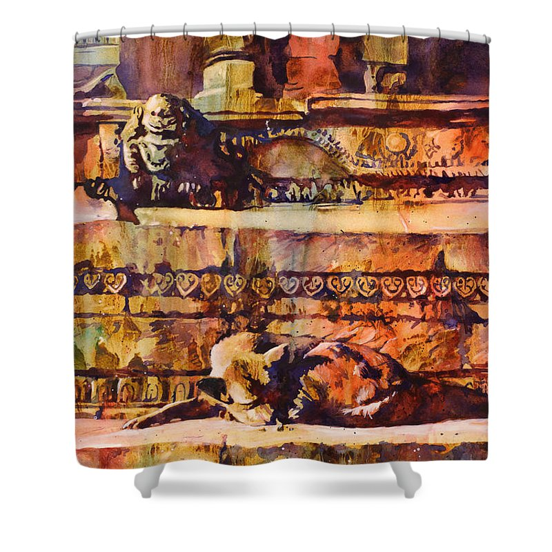 Art Prints Shower Curtain featuring the painting Memories Of Happier Times- Nepal by Ryan Fox