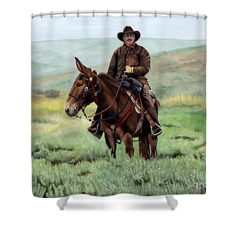 Usa Shower Curtain featuring the painting Memories Of Molly by Mary Rogers