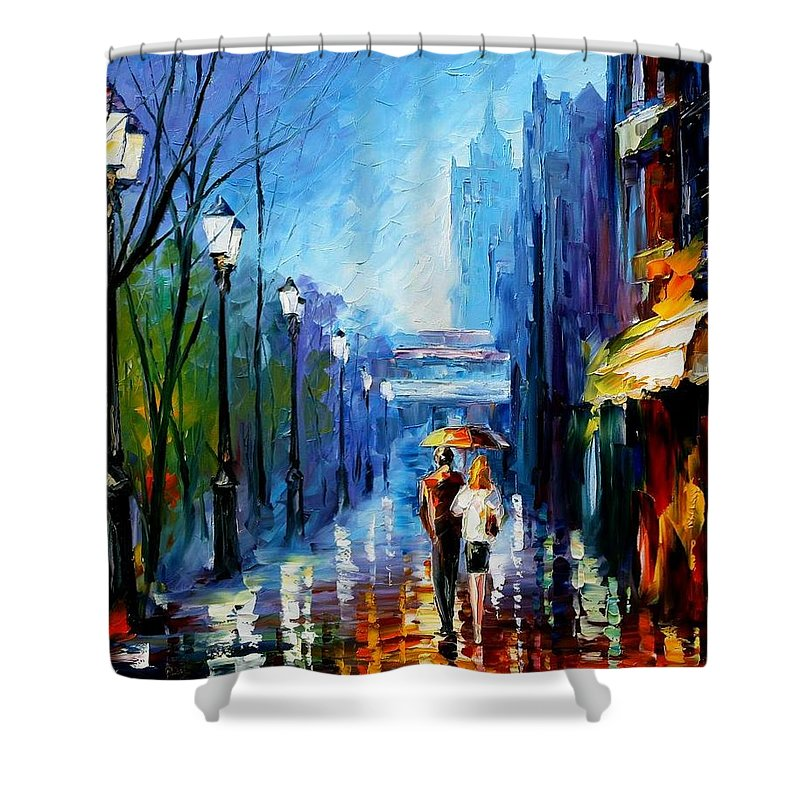 Afremov Shower Curtain featuring the painting Memories Of Paris by Leonid Afremov