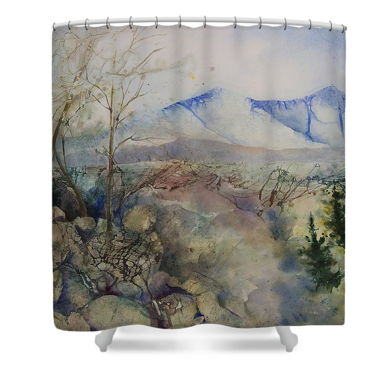 Landscape Shower Curtain featuring the painting Memories of Vacation by Marlene Gremillion