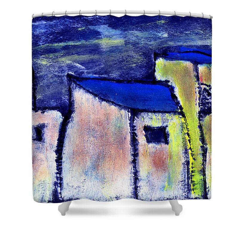 Buidings Shower Curtain featuring the painting Memories by Wayne Potrafka