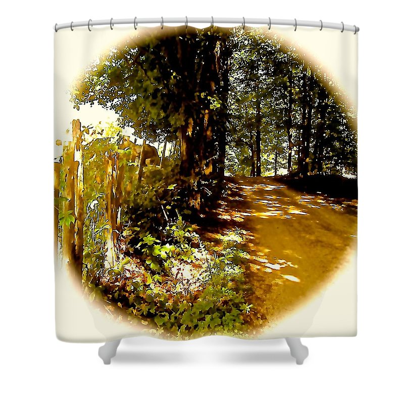 Rustic Fence Shower Curtain featuring the photograph Memory Lane by Elizabeth Tillar