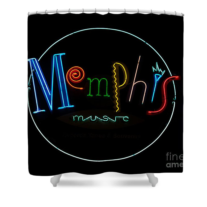 Memphis Shower Curtain featuring the photograph Memphis Neon Sign by Mindy Sommers
