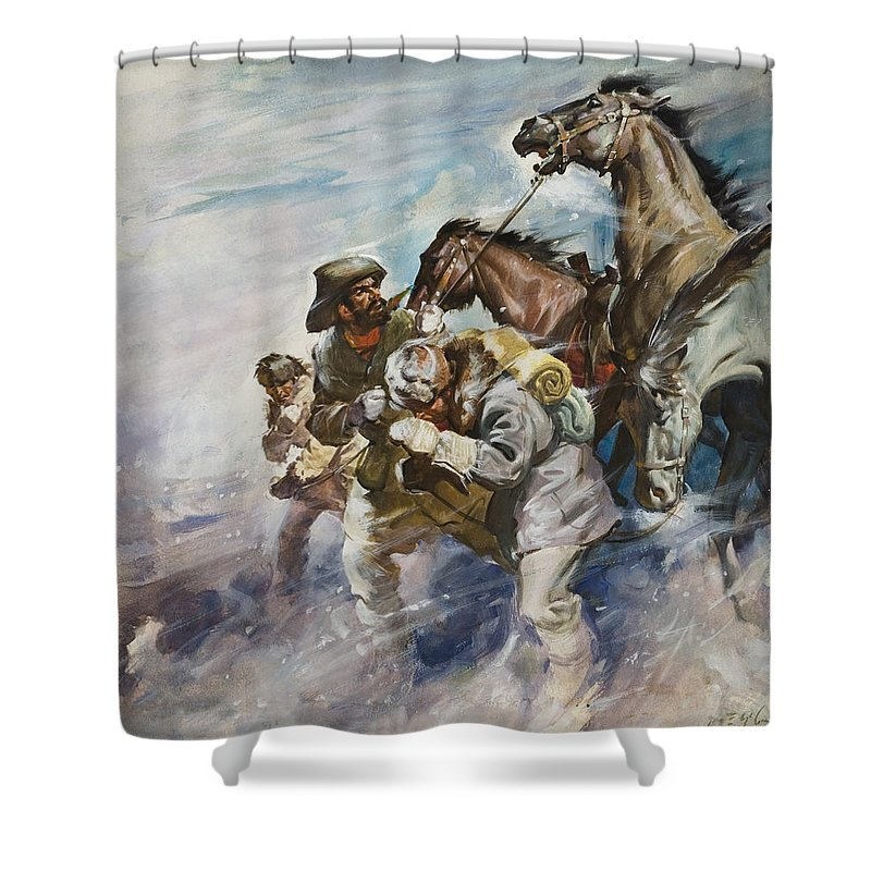 Men Shower Curtain featuring the painting Men And Horses Battling A Storm by James Edwin McConnell