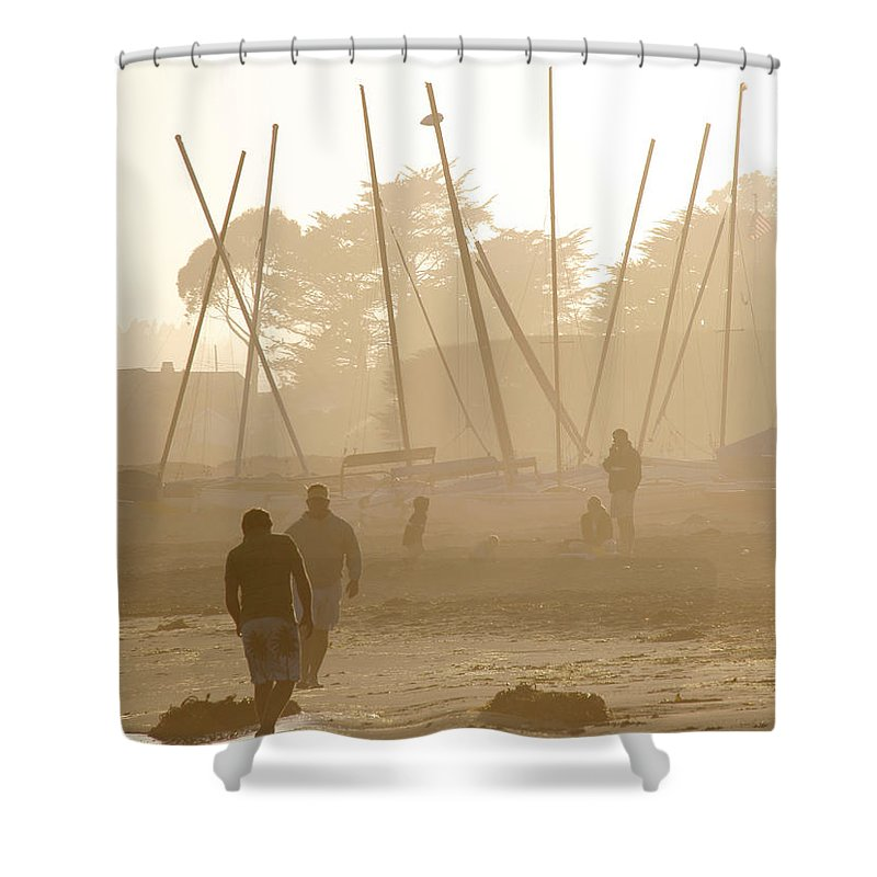 Americana Shower Curtain featuring the photograph Men And Marina by Marilyn Hunt