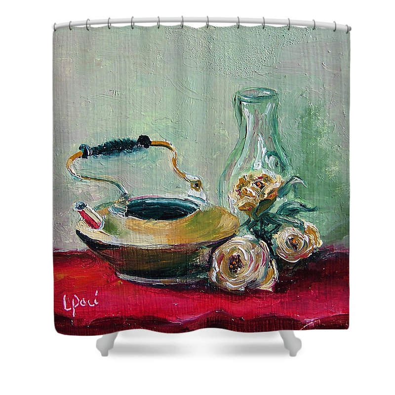 Still Life Shower Curtain featuring the painting Menage A Trois by Laurie Paci