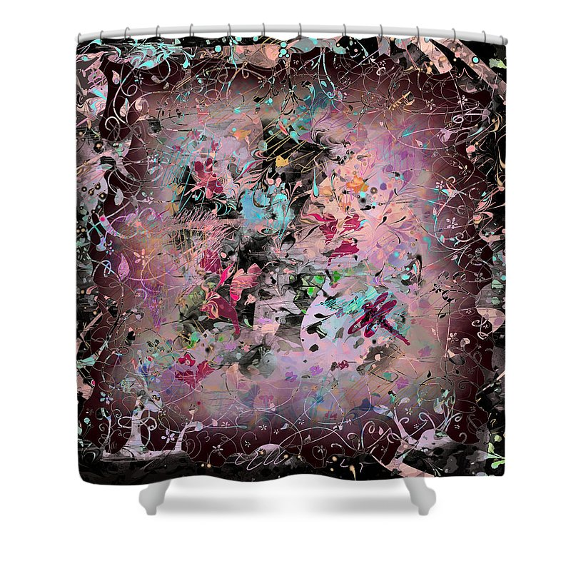Abstract Shower Curtain featuring the digital art Menagerie by Rachel Christine Nowicki