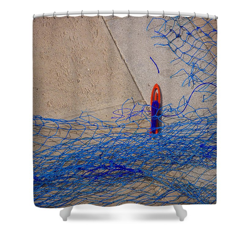 Fishing Net Shower Curtain featuring the photograph Mending The Net by Charles Stuart