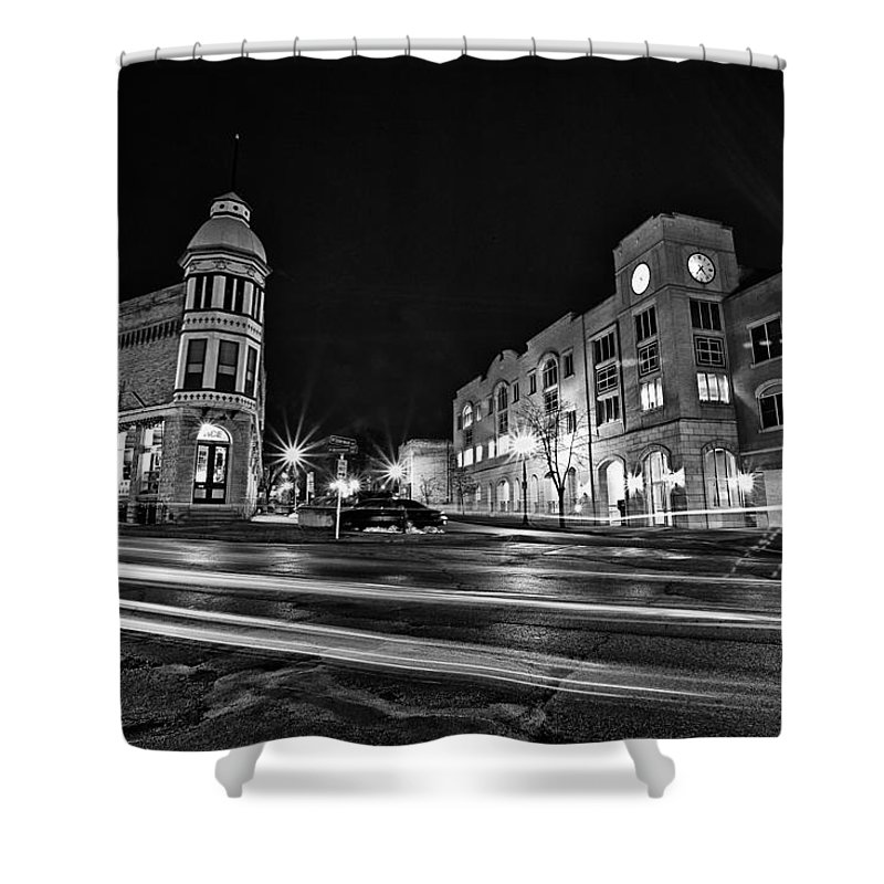 Shower Curtain featuring the photograph Menomonee And Underwood At Night by CJ Schmit