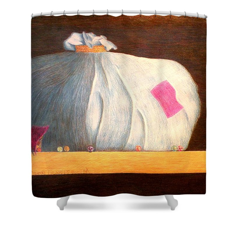 Still Life Shower Curtain featuring the painting Mental Escapees by A Robert Malcom