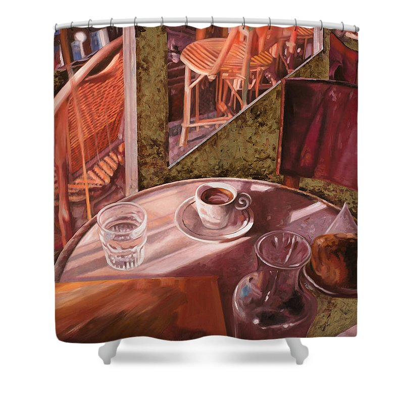 Caffe Shower Curtain featuring the painting Mentre Ti Aspetto by Guido Borelli