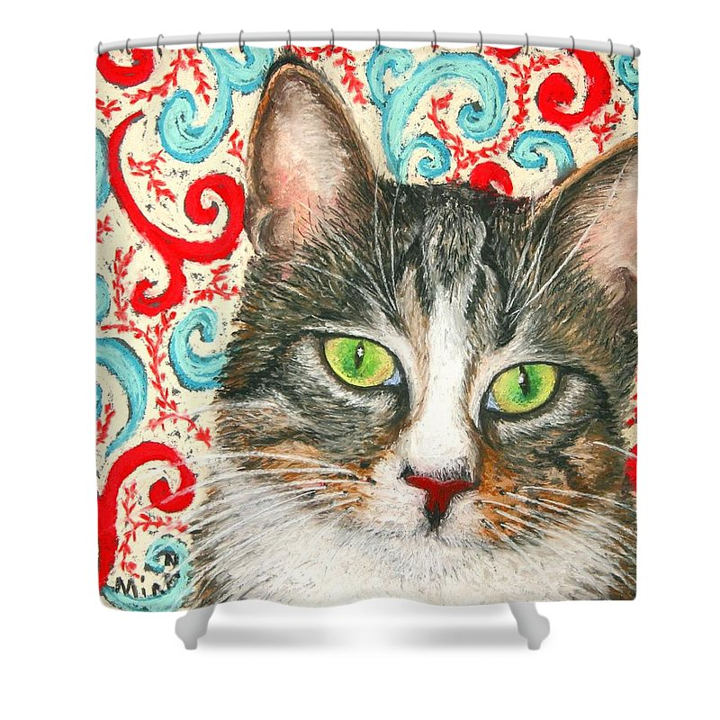 Cat Shower Curtain featuring the painting Meow Please... by Minaz Jantz