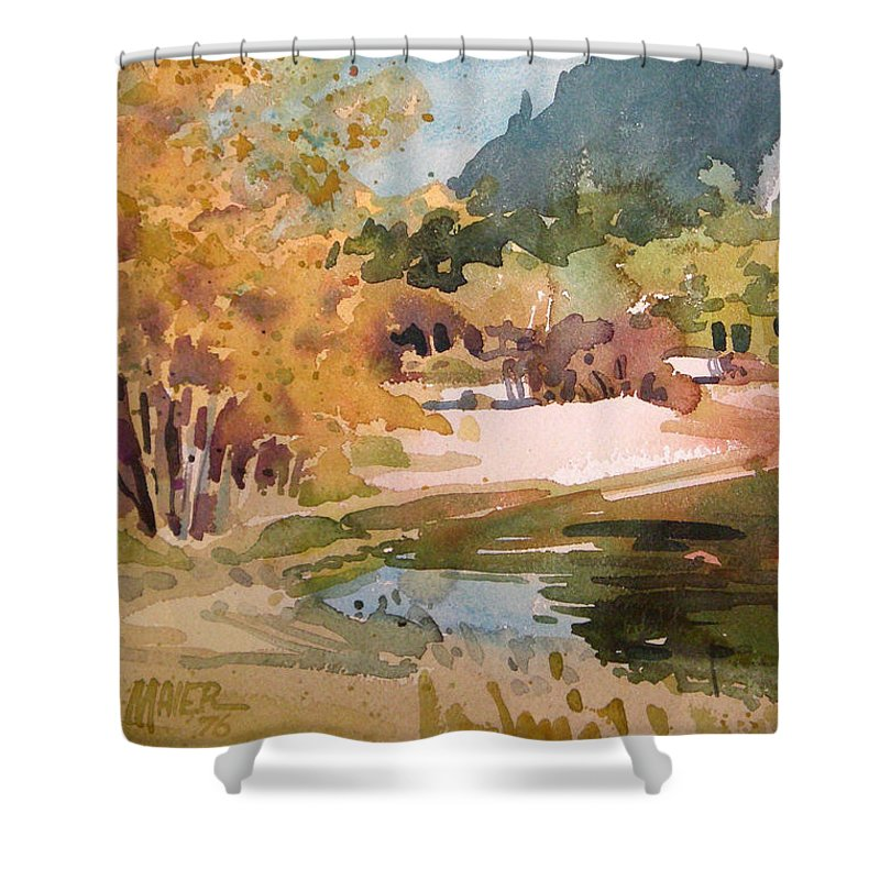Ansel Adams Shower Curtain featuring the painting Merced River Encounter by Donald Maier