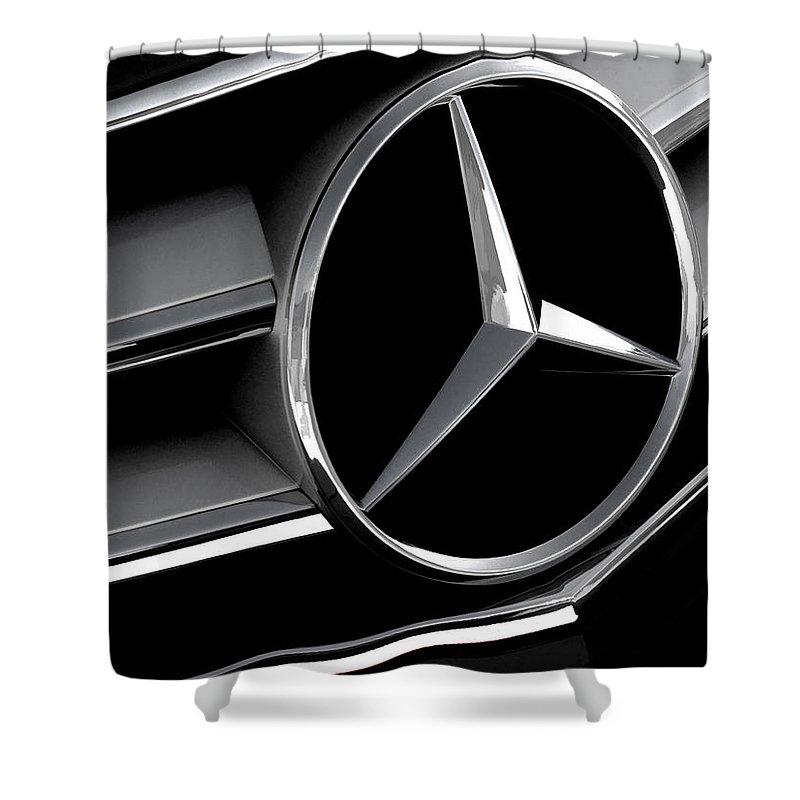 Mercedes Shower Curtain featuring the digital art Mercedes Badge by Douglas Pittman
