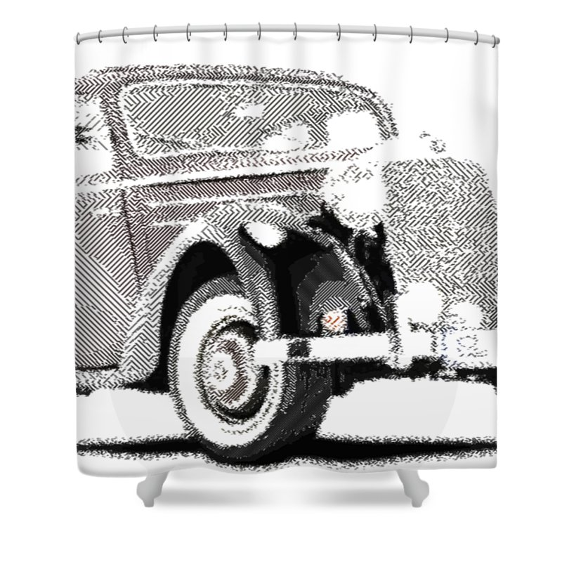 Oldtimer Shower Curtain featuring the drawing Mercedes Benz 170 S - Parallel Hatching by Samuel Majcen