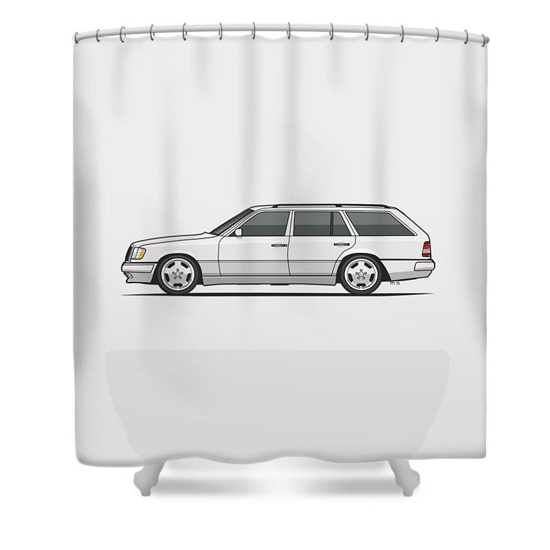 Mercedes Benz W124 T124 300te E-class White Estate Wagon Shower Curtain