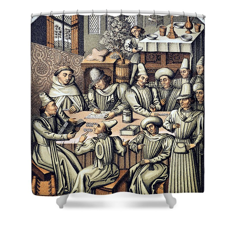 15th Century Shower Curtain featuring the photograph Merchants Paying Taxes by Granger