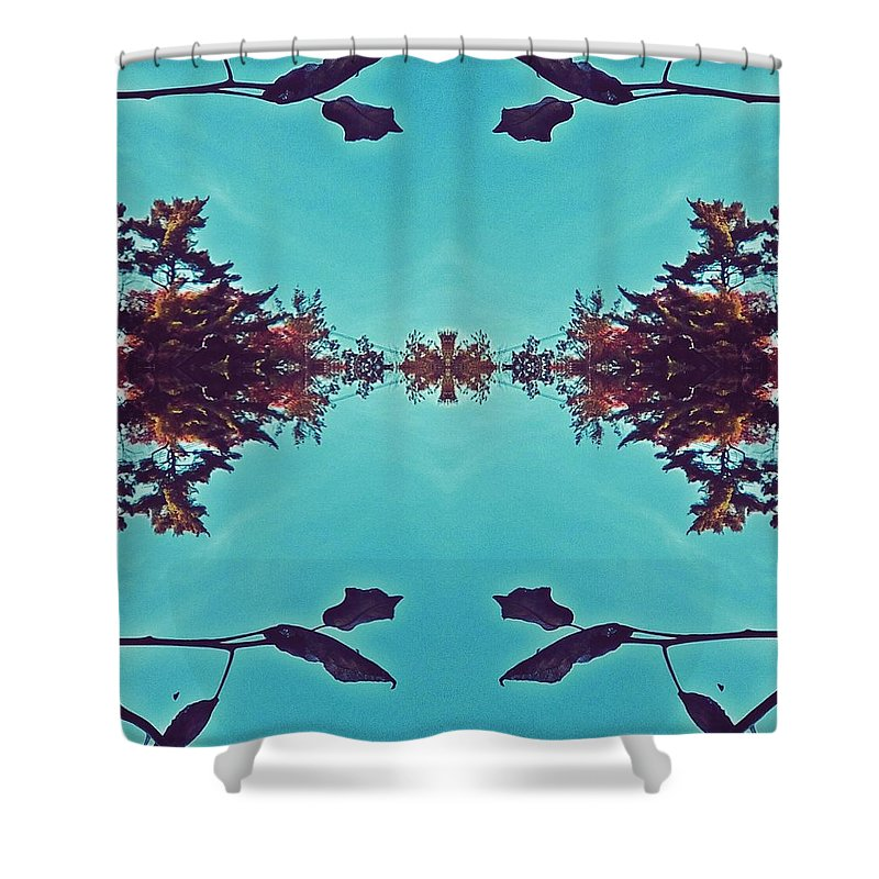 Merging- Turquoise Shower Curtain featuring the digital art Merging - Turquoise by Brenda Plyer