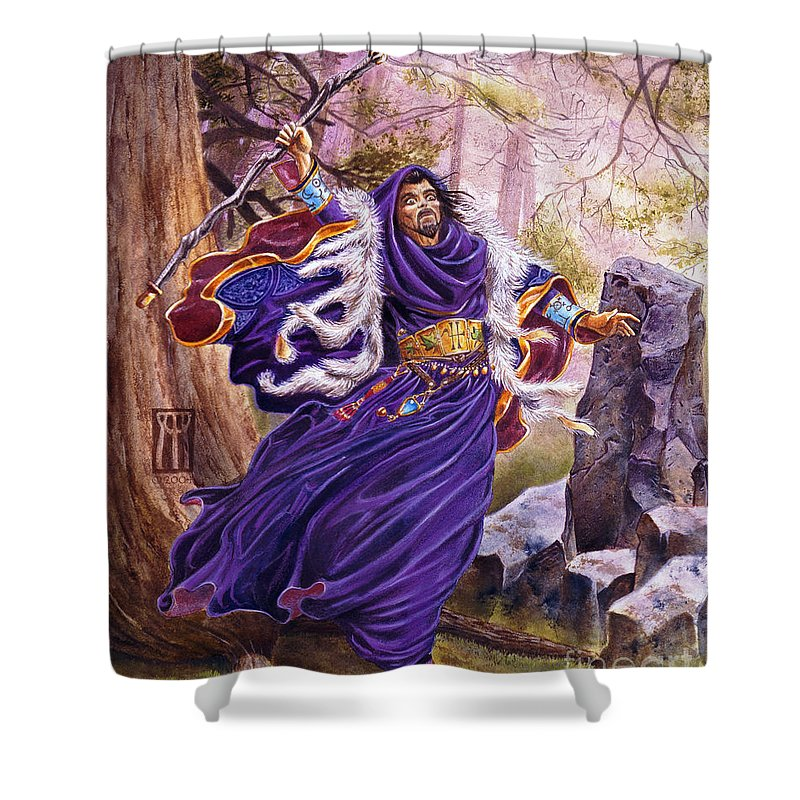 Artwork Shower Curtain featuring the painting Merlin by Melissa A Benson