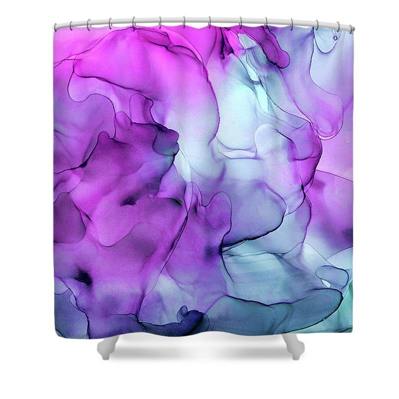 Ink Shower Curtain featuring the painting Mermaid Abstract Ink Painting by Olga Shvartsur