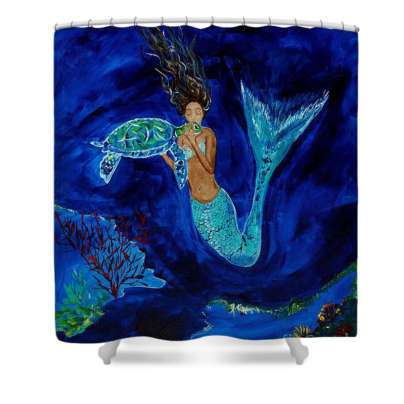 Mermaid Shower Curtain Featuring The Painting Mermaid And The Sea Turtle By  Leslie Allen