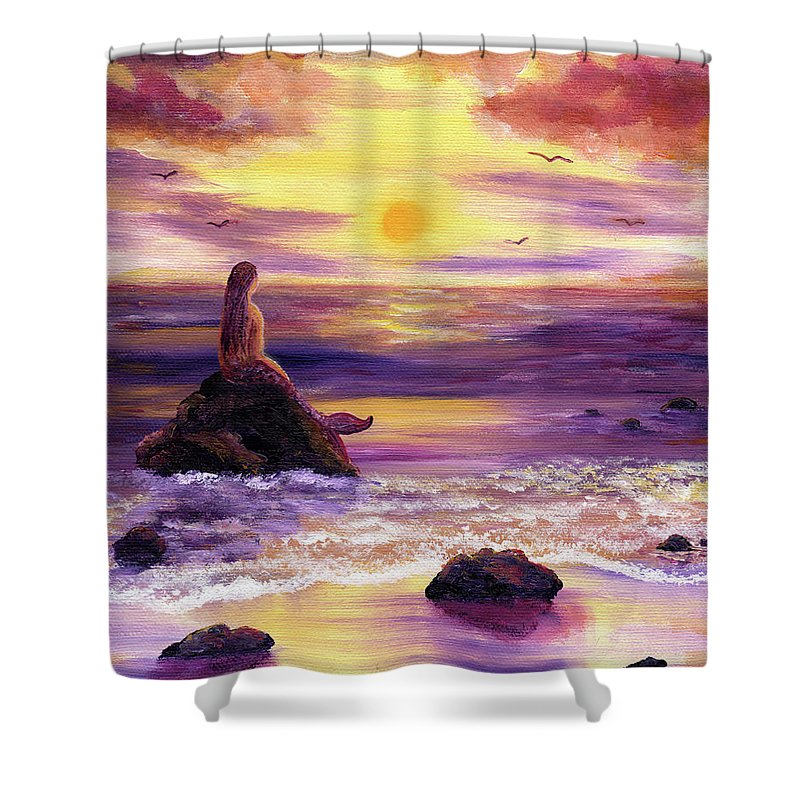 Mermaid Shower Curtain featuring the painting Mermaid In Purple Sunset by Laura Iverson