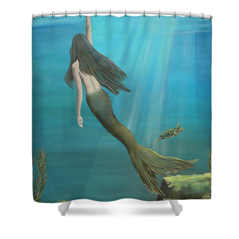 Mermaid Shower Curtain featuring the painting Mermaid Of Weeki Wachee by Kris Crollard