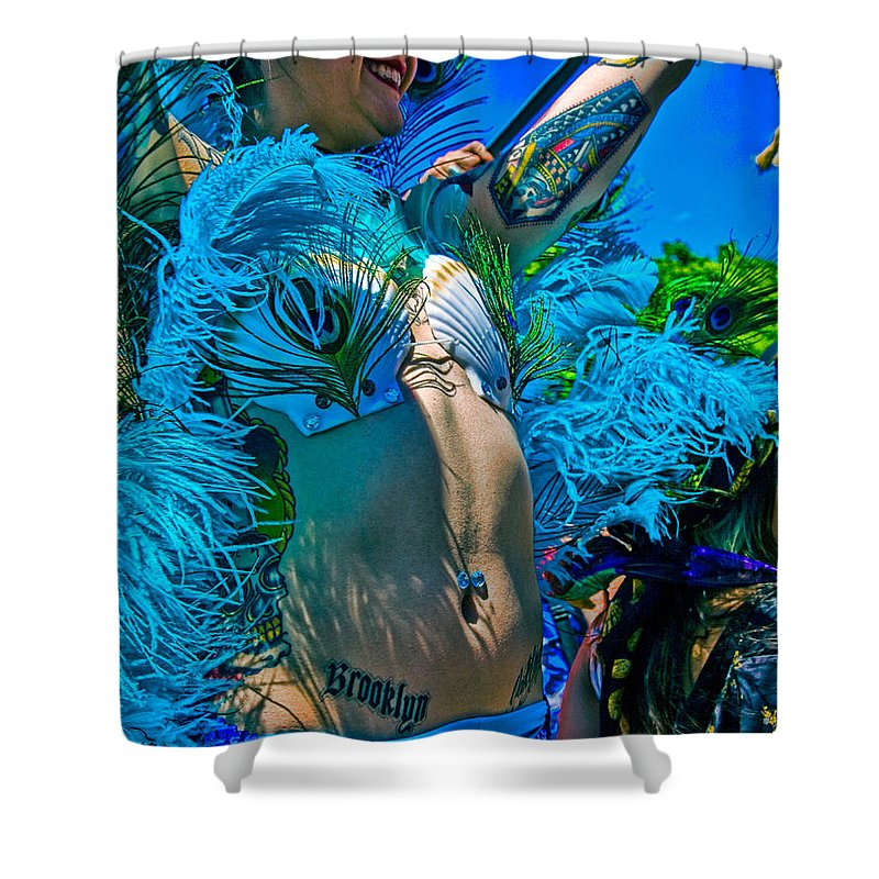 Tattoo Shower Curtain featuring the photograph Mermaid Parade Participant by Chris Lord