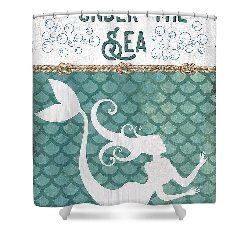 Mermaid Shower Curtain featuring the painting Mermaid Waves 2 by Debbie DeWitt