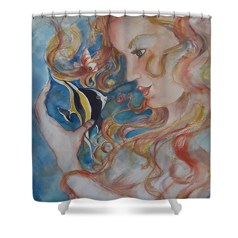 A Kiss From The Mermaid To A Morish Idol. Mermaid Shower Curtain featuring the painting Mermaids Kiss by Charme Curtin