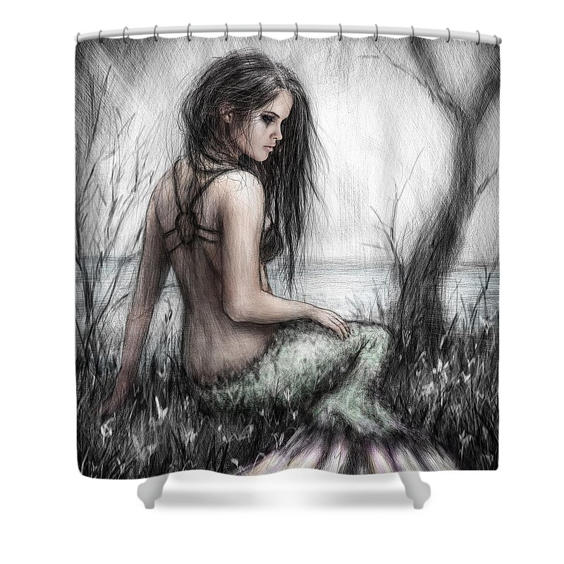 Justin Gedak Shower Curtain featuring the painting Mermaid's Rest by Justin Gedak