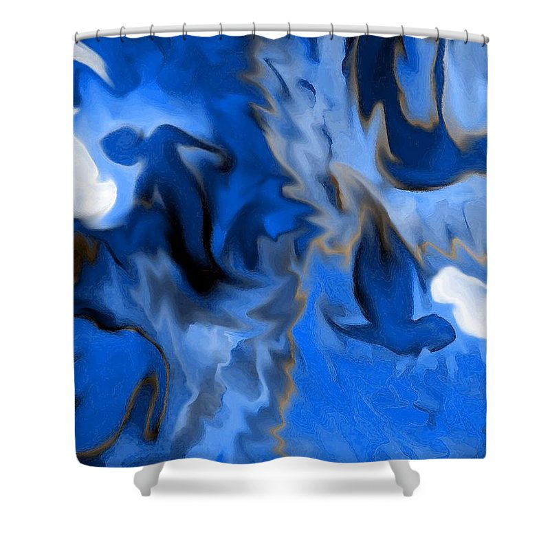 Mermaids Shower Curtain featuring the digital art Mermaids by Shelley Jones