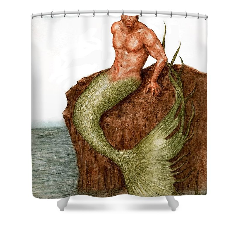 Merman Mermaid Art Bruce Lennon Shower Curtain featuring the painting Merman On The Rocks by Bruce Lennon