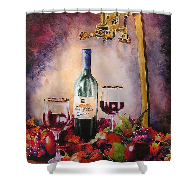 Wine Shower Curtain featuring the painting Merriment by Karen Stark