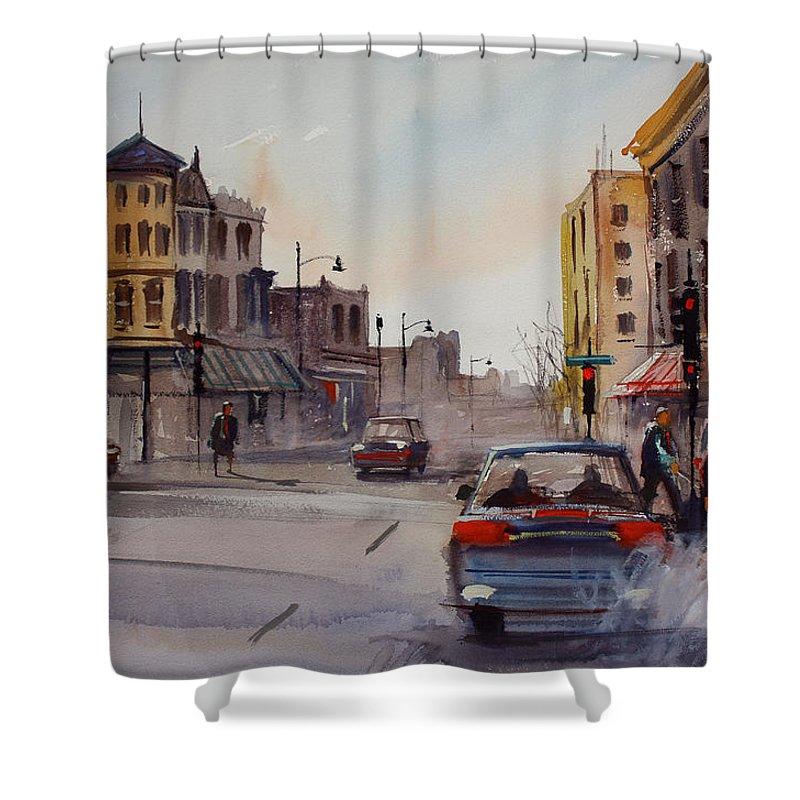 Paintings Shower Curtain featuring the painting Merritt And Main by Ryan Radke