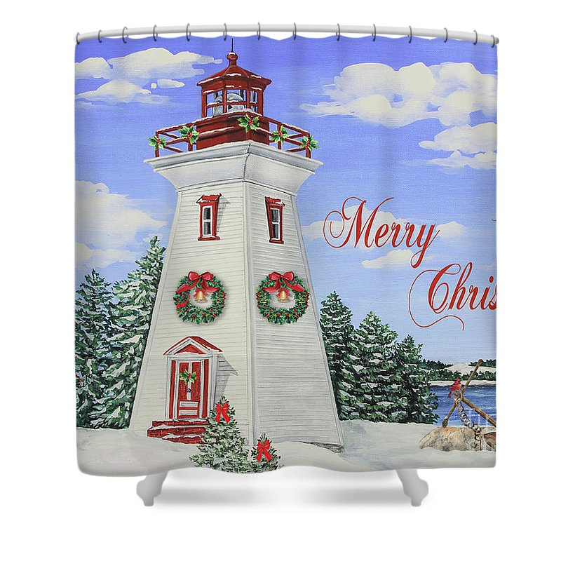 Lighthouse Shower Curtain Featuring The Painting Merry Christmas Lighthouse Jp3901  By Jean Plout