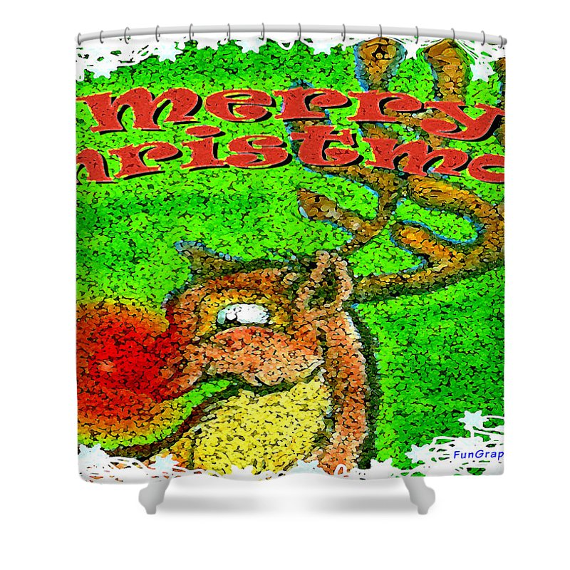 Merry Christmas Shower Curtain featuring the greeting card Merry Christmas Reindeer by Kevin Middleton