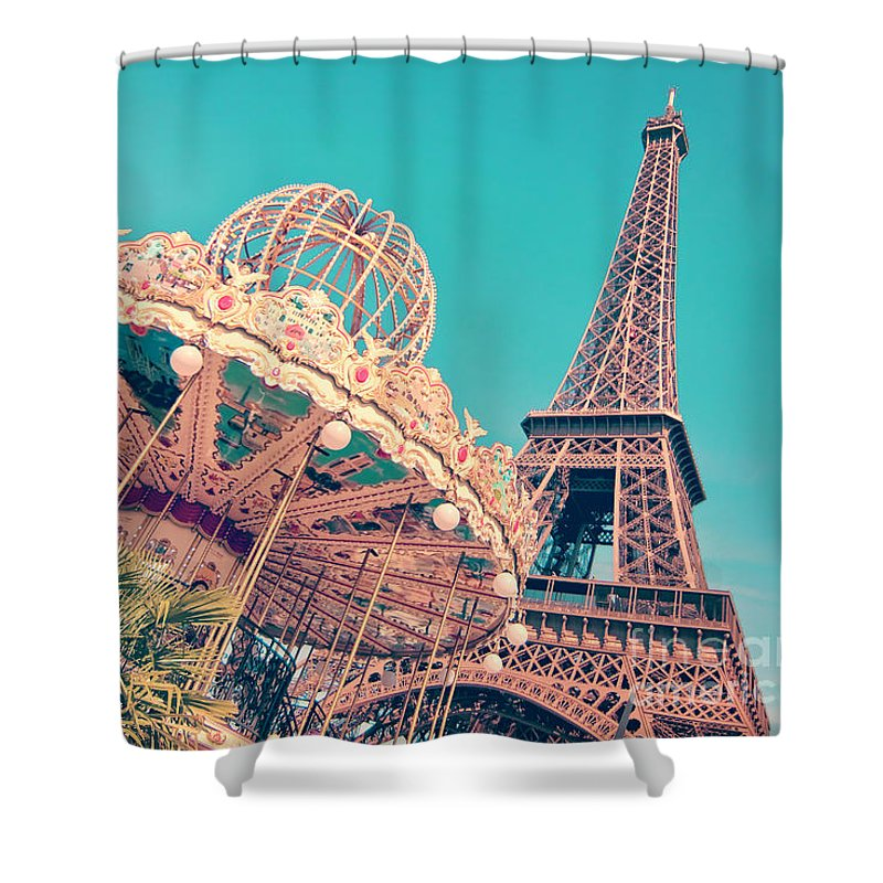 Eiffel Tower Shower Curtain featuring the photograph Merry Go Paris by Delphimages Photo Creations