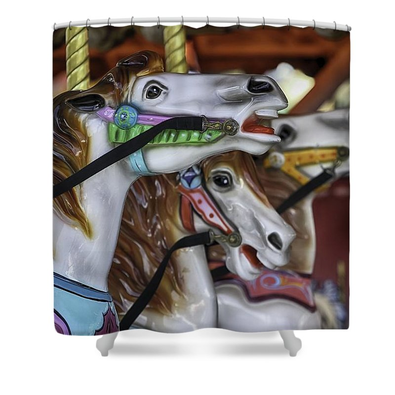 Merry Go Round Horses Shower Curtain featuring the photograph Merry Go Round Horses by Mary Ourada