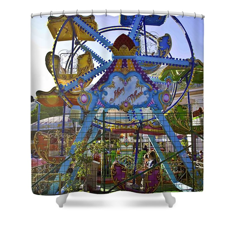 Amusement Park Shower Curtain featuring the photograph Merry Wheel by Madeline Ellis