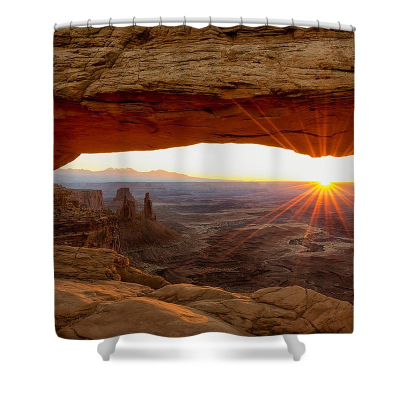 Mesa Arch Sunrise Canyonlands National Park Moab Utah Shower Curtain featuring the photograph Mesa Arch Sunrise - Canyonlands National Park - Moab Utah by Brian Harig