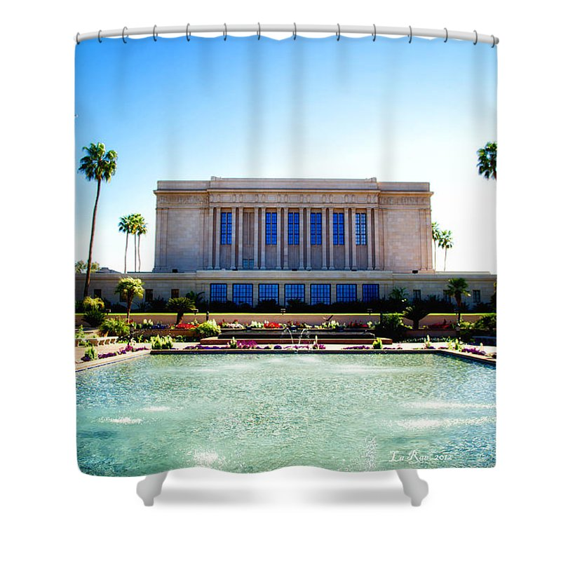 Mesa Temple Photography Shower Curtain featuring the photograph Mesa Temple Pool by La Rae Roberts