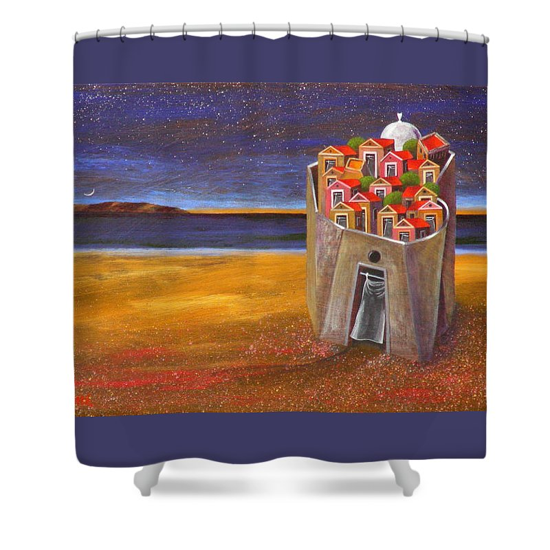 Superrealism Shower Curtain featuring the painting Mesi Castle Village by Dimitris Milionis