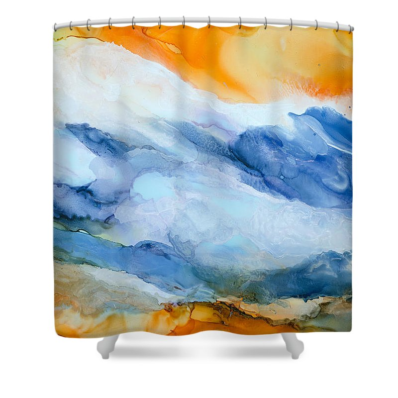 Abstract Shower Curtain featuring the painting Mesmerized - A by Sandy Sandy