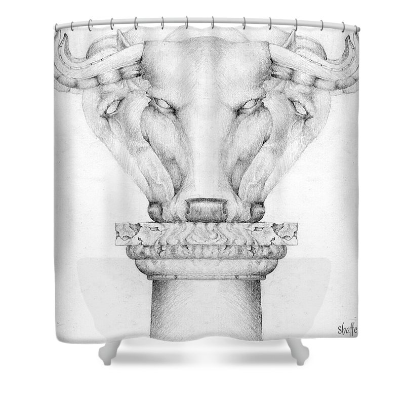 Bull Shower Curtain featuring the drawing Mesopotamian Capital by Curtiss Shaffer